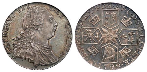George III shilling 1798 Dorrien and Magens issue. Images courtesy of an anonymous contributor.