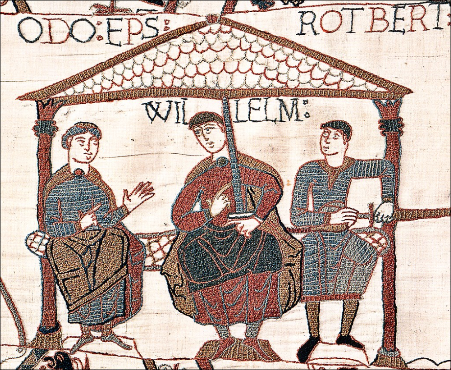 Image from the Bayeux Tapestry showing William with his half-brothers.
